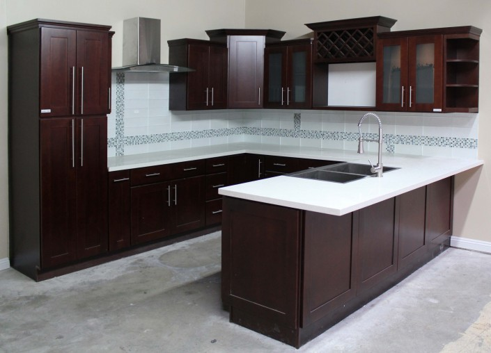 Dark Wood Shaker Cabinets & Granite Countertops